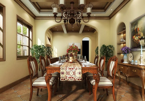 143平米古典美式风格餐厅装修效果图赏析