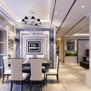 简欧风格精致大户型室内餐厅吊灯装修效果图
