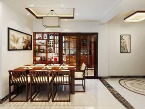 中式风格三居室室内餐厅隔断设计装修效果图