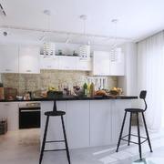 60平米北欧风格开放式厨房吧台装修效果图