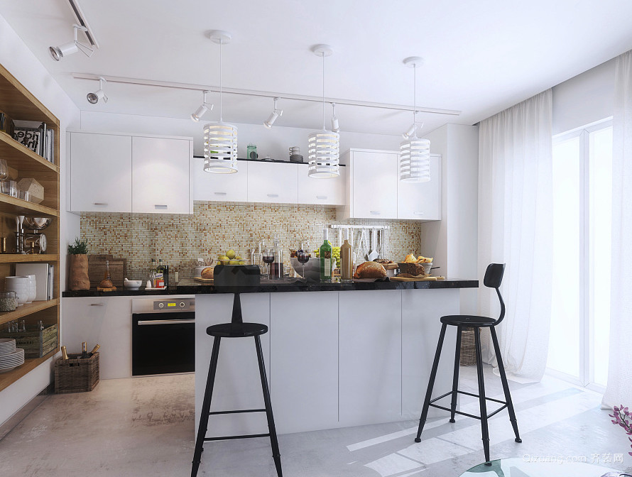 60平米北欧风格开放式厨房吧台装修效果图图片