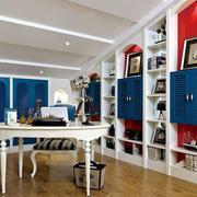 地中海风格别墅室内书房设计装修效果图