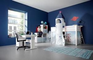 蓝色主题现代简约风格男生儿童房装修效果图