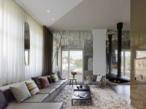 后现代风格大户型室内客厅窗帘设计装修效果图