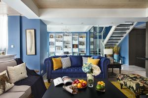 蓝白混搭地中海风格复式楼室内装修效果图
