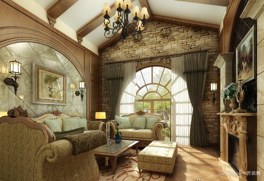 复古美式风格别墅客厅装修效果图赏析