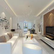 50平米现代简约风格客厅沙发背景墙装修效果图