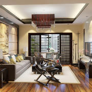新中式风格二居室客厅吸顶灯装修效果图鉴赏