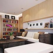 55平米现代风格客厅书架装修设计效果图赏析