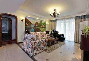 155平米欧式田园风格三室两厅室内装修效果图