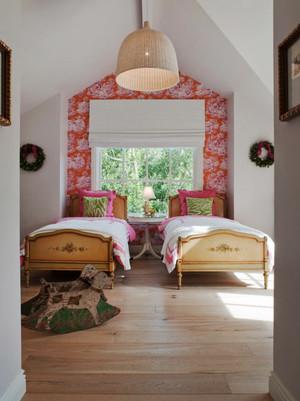 简欧风格明亮轻快儿童房双人床装修效果图大全