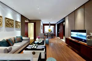 现代中式风格三室两厅一卫室内装修效果图