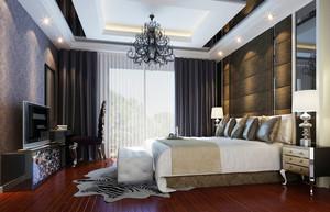 32平米现代欧式风格卧室背景墙装修效果图赏析
