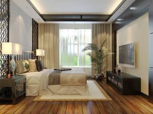 30平米新中式风格卧室窗帘设计效果图赏析