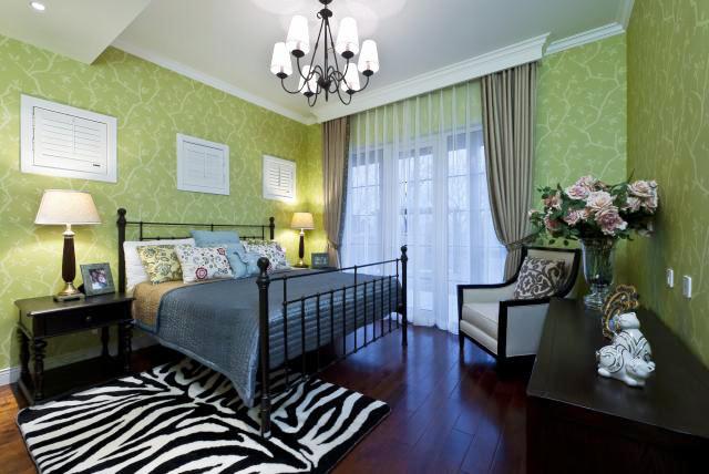 25平米现代美式风格卧室墙纸装修效果图