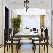 新中式风格三居室室内餐厅背景墙装修效果图赏析