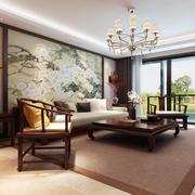 中式风格大户型客厅沙发背景墙装修效果图赏析