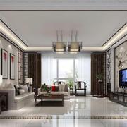新中式风格大户型客厅电视背景墙装修效果图赏析