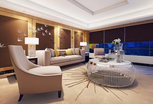 现代风格三居室客厅沙发创意背景墙装修效果图