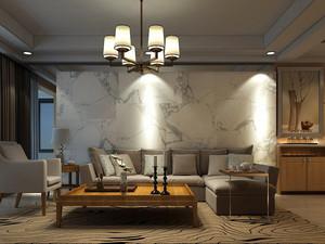 现代风格二居室客厅大理石沙发背景墙装修效果图