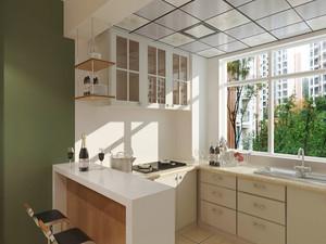 12平米欧式田园风格开放式厨房吧台装修效果图