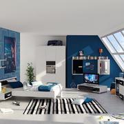 蓝白自然舒适地中海风格儿童房设计效果图
