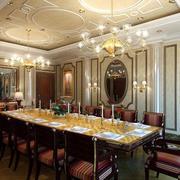 古典奢华欧式风格别墅餐厅吊灯装修效果图