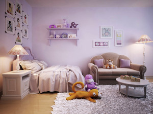 简欧风格紫色梦幻儿童房装修效果图赏析