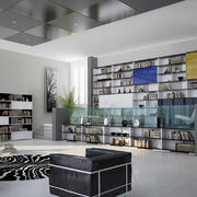 后现代风格大户型客厅创意书架装修效果图赏析