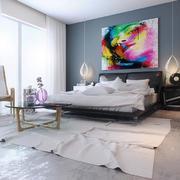 北欧风格一居室卧室背景墙装修设计效果图
