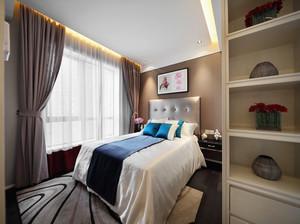 22平米现代中式风格卧室窗帘设计效果图