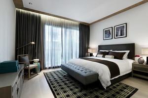 27平米新中式风格卧室窗帘效果图鉴赏