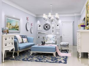 50平米现代美式风格小户型室内装修效果图赏析