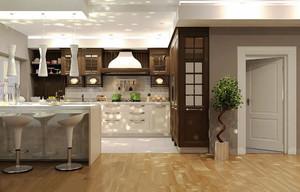 现代简约风格两居室开放式厨房吧台效果图