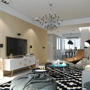 现代欧式风格三居室客厅电视背景墙装修效果图