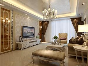 90平米欧式奢华风格客厅电视背景墙装修效果图