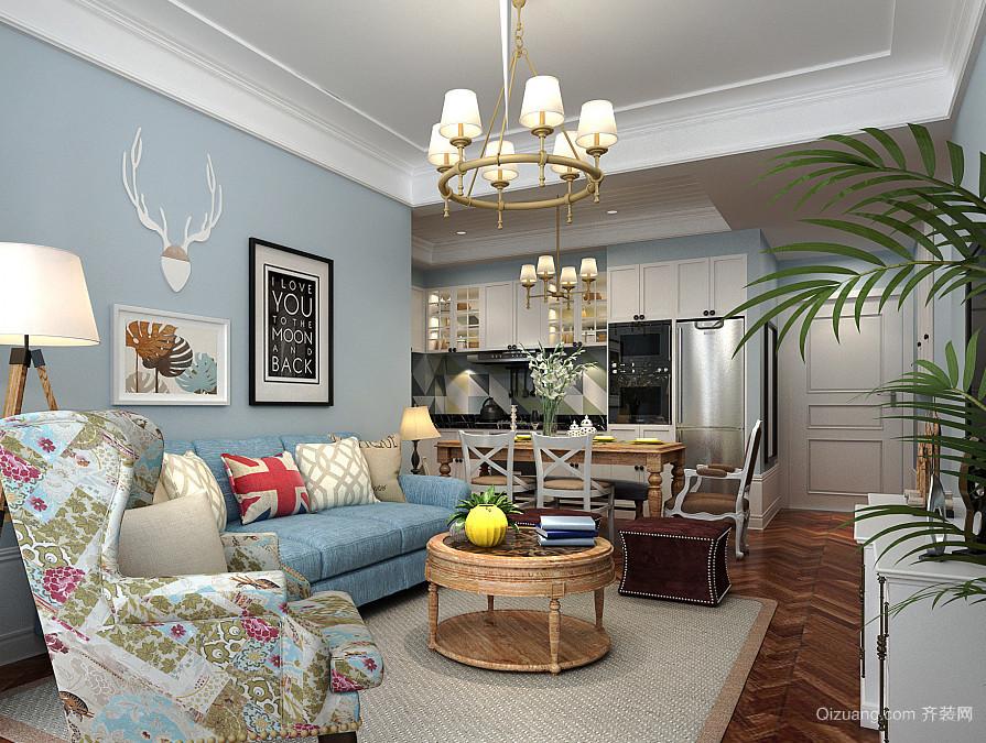 现代美式风格二居室客厅装修效果图鉴赏