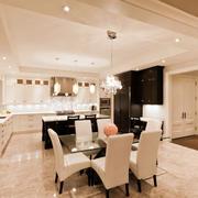 现代简约风格大户型精致厨房餐厅设计装修效果图