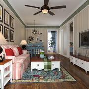 95平米美式田园风格客厅墙纸装修效果图赏析