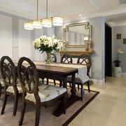 美式风格大户型室内餐厅吊灯装修效果图赏析