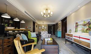 美式混搭风格三室两厅一卫室内装修效果图赏析