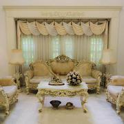 欧式田园风格三居室室内客厅窗帘装修效果图