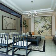 精致典雅中式风格三居室客厅手绘装饰画效果图赏析