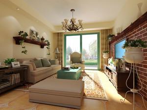 美式田园风格二居室客厅吊顶装修效果图鉴赏