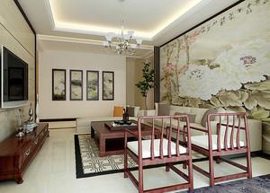 90平米新中式风格客厅沙发背景墙装修效果图