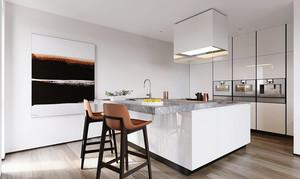 现代简约风格小户型开放式厨房吧台装修效果图赏析