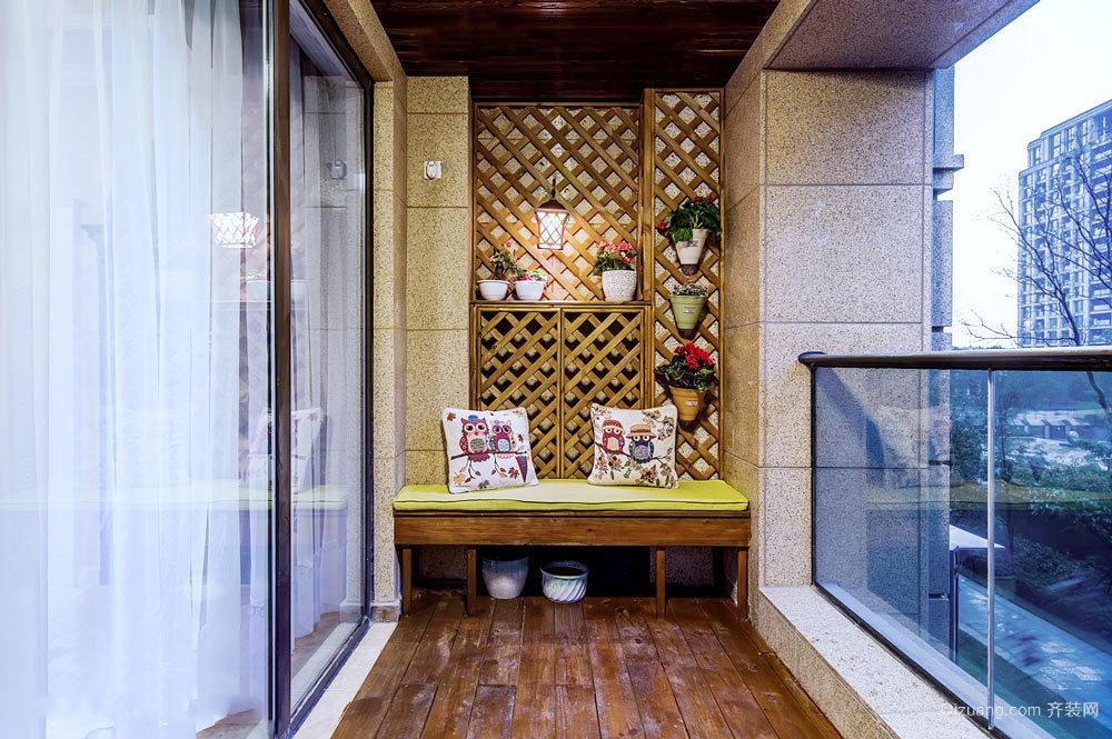 东南亚风格三居室阳台设计装修效果图