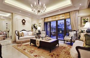 古典欧式风格别墅室内客厅吊灯设计装修效果图