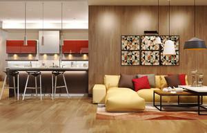现代简约风格小户型开放式厨房吧台装修效果图
