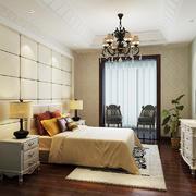 现代美式风格二居室主卧室吊灯装修效果图